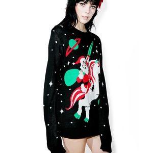 Tipsy Elves Santa Unicorn Funny Christmas Sweater